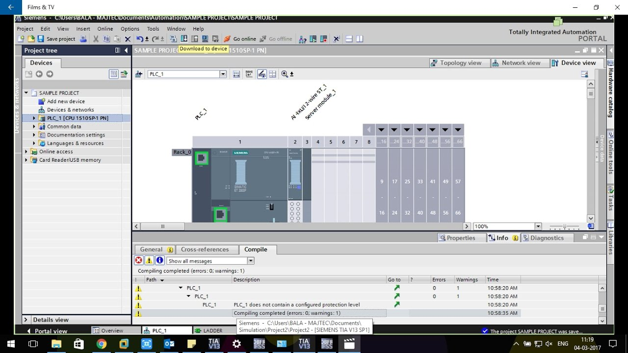SIEMENS ET200SP PLC Program Downloading Using TIA PORTAL Tutorial 1