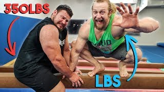 350lb Strongman Tries Gymnastics, muscle-ups?