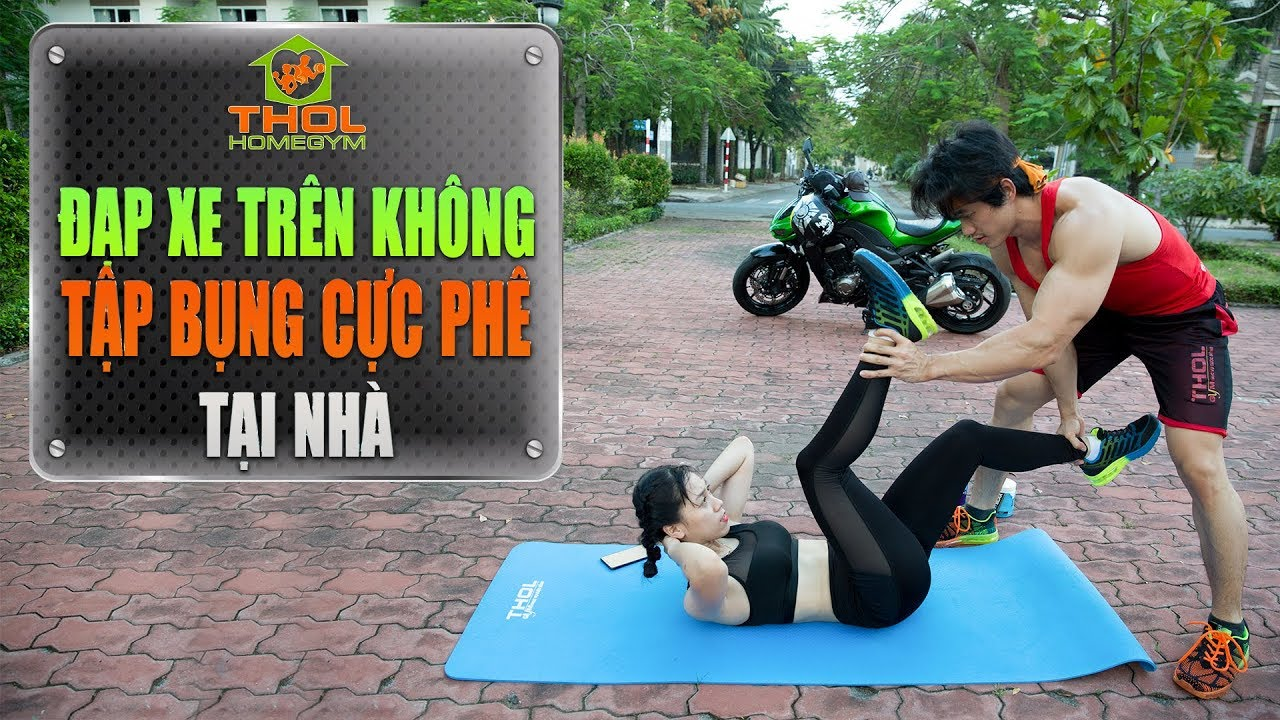 Đạp xe trên không giảm mỡ bụng nhanh không cần tập gym