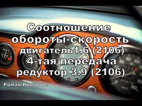 Соотношение оборотов двигателя и скорости (приблизительно).