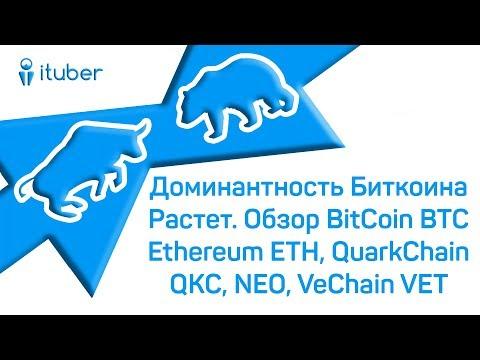 Смотреть Доминантность Биткоина Растет. Обзор BitCoin BTC, Ethereum ETH, QuarkChain QKC, NEO, VeChain VET. онлайн