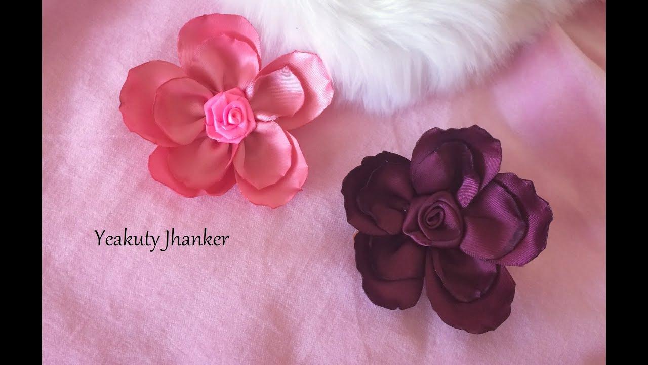 Ribbon Flower For Hair Clip Youtube