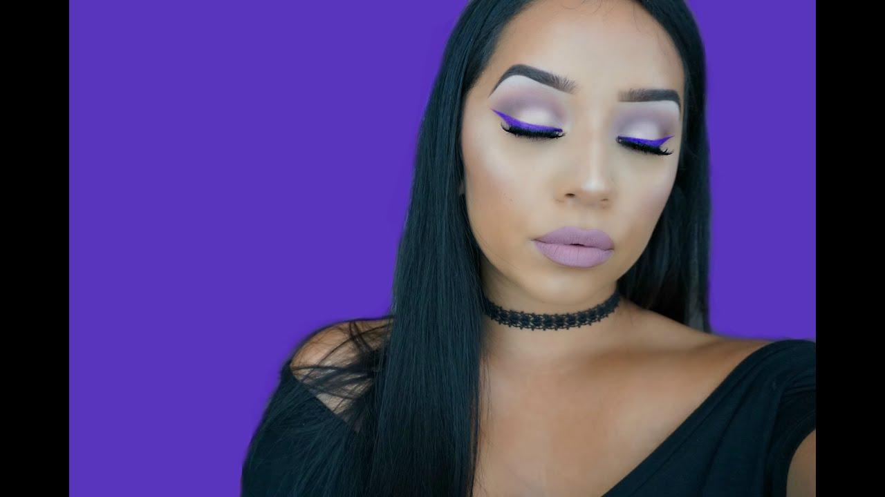 Purple Winged Eyeliner   Simple Summer Makeup Look - YouTube