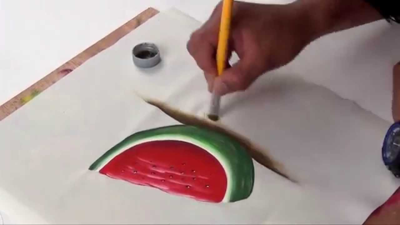 Como pintar una sandia en tela youtube for Como aislar una pared del ruido