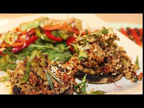 Easy Vegan  Quinoa Stuffed Mushrooms