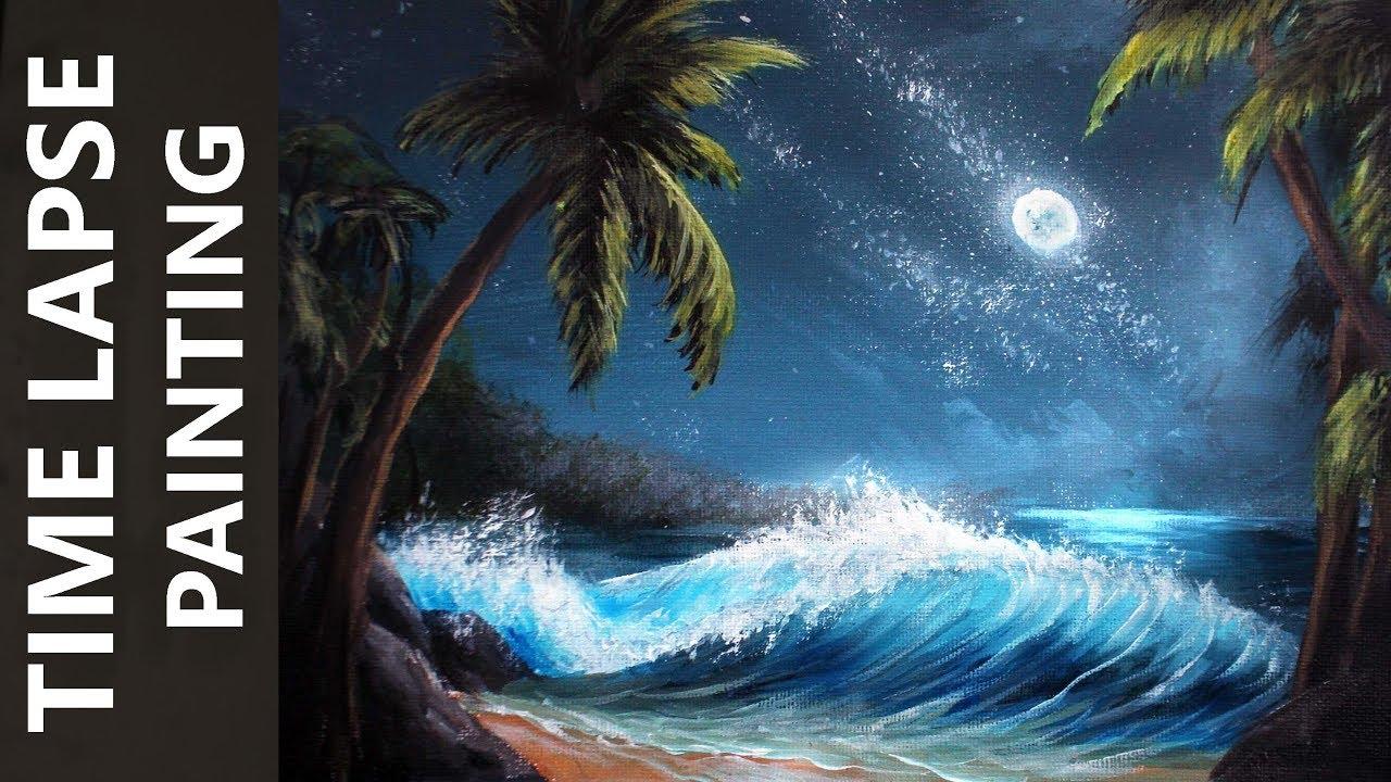 Ocean Waves On A Moonlit Beach Acrylic Time Lapse