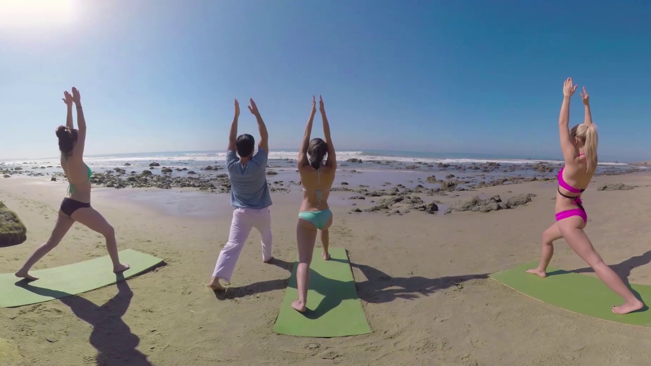 VR 360 Exercise yoga and swimsuit on the river beach