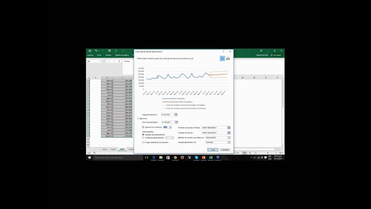 Ejemplos de cálculos de pronósticos de ventas en Excel 2016 - YouTube