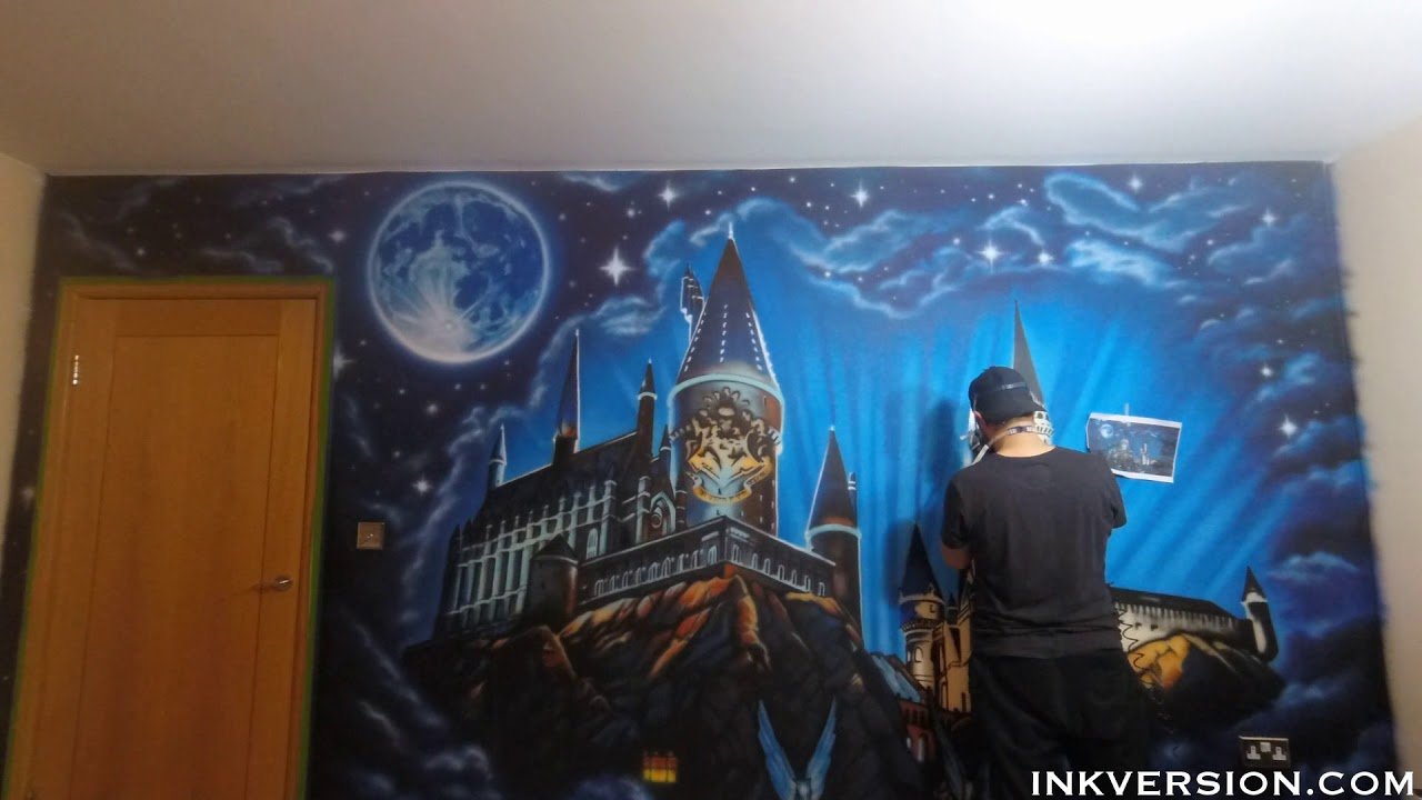Harry Potter Hogwarts Wall Mural Airbrush Time lapse YouTube