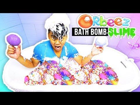 SLIME ORBEEZ BATH BOMB BATH CHALLENGE!