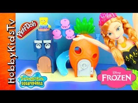 Thumbnail: Disney FROZEN Anna Makes SpongeBob House! PLAY-DOH Jellyfish Launched at Squidward HobbyKidsTV