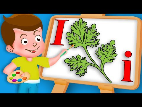 Drawing Alphabet I Letter Indian Parsley Veg Drawing Paint And Colouring For Kids | Kids Drawing TV