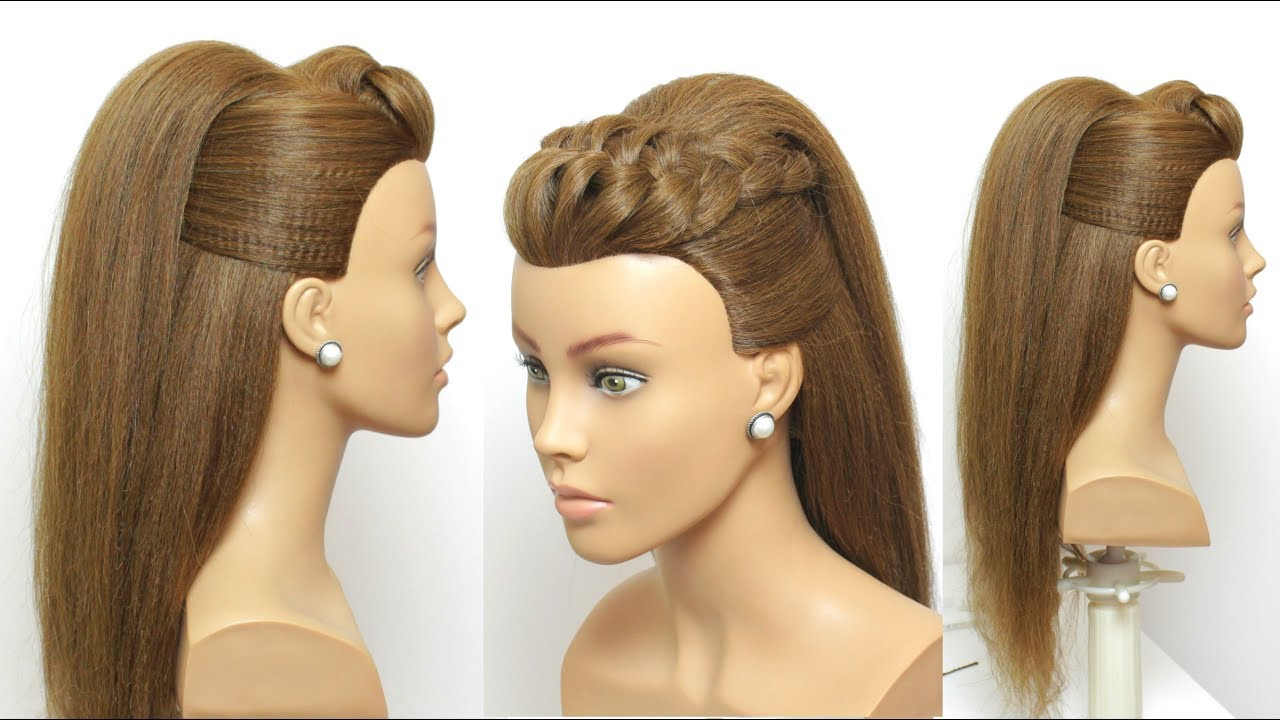 New Modern Hairstyle For Long Hair With Puff And Braid