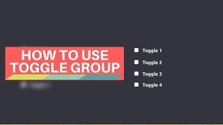How to use Toggle Group | UNITY3D UI