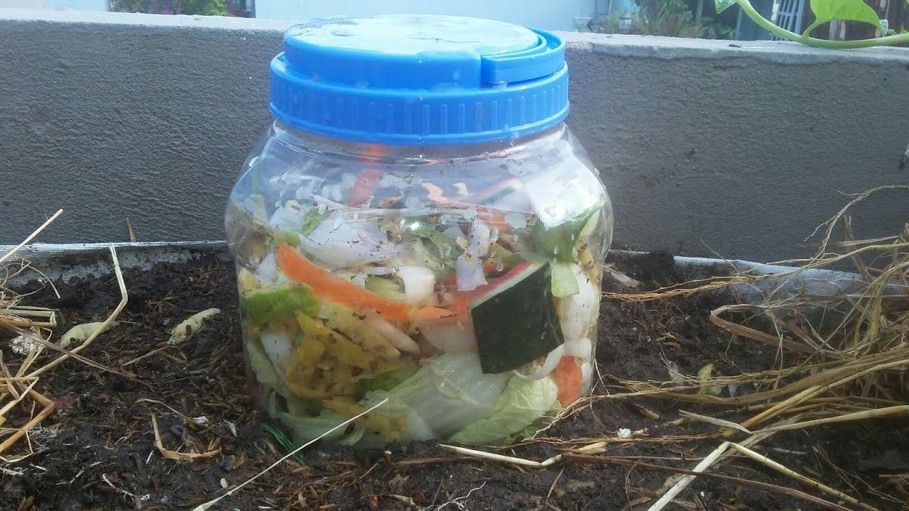 Tận dụng Bình Nhựa cũ chứa Rác Thải nhà bếp ,  nước rác tự ngấm vào đất | Khoa Hien 269