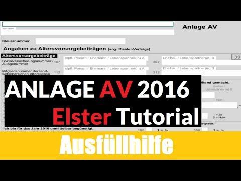 Steuererklärung selber machen: Anlagen AV 2016   Tutorial / Erklärung / Ausfüllhilfe