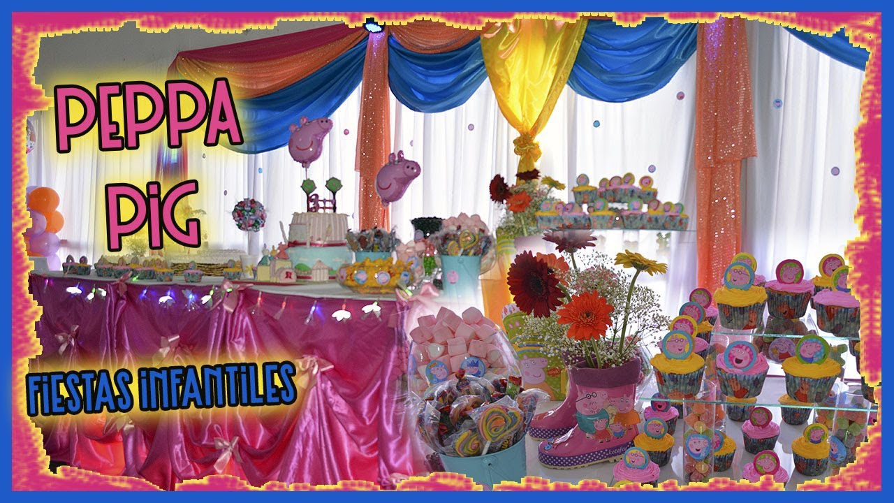 Peque a decoraci n cumplea os tem tica peppa pig youtube for Decoracion cumpleanos princesas