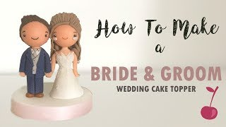 Kawaii Bride and Groom Wedding Cake Topper Tutorial | How To | Cherry Toppers