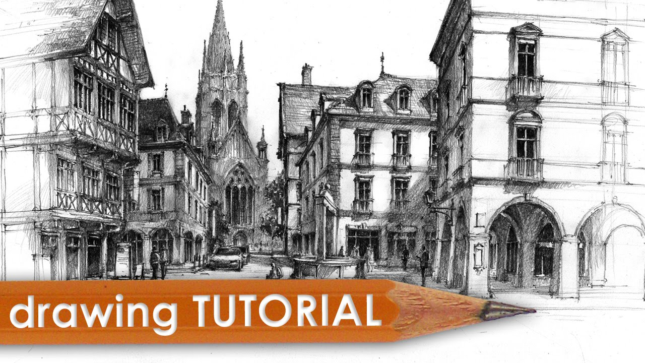 Drawing Tutorial Street Architecture In Perspective Youtube