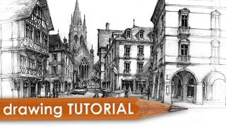 Drawing tutorial - street & architecture in perspective