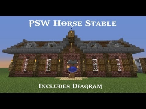 Minecraft Horses Ep #2 - PSW Horse Stable w/Diagram! (HD)
