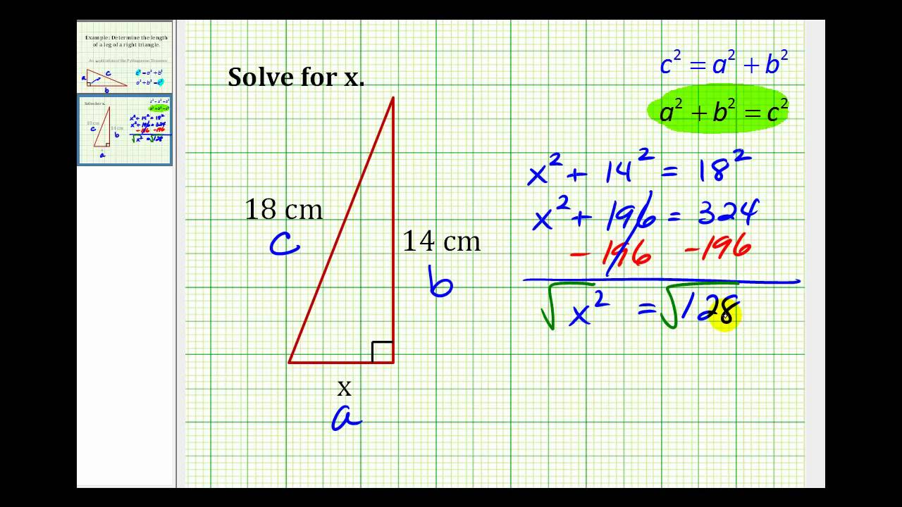 Example: Determine The Length Of The Leg Of A Right Triangle