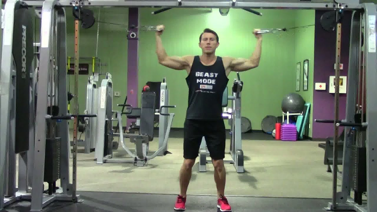 High Cable Curls - HASfit Biceps Exercise Demonstration ...