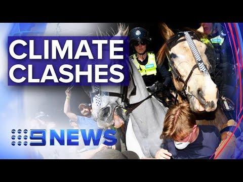 Violence erupts outside Melbourne mining conference | Nine News Australia