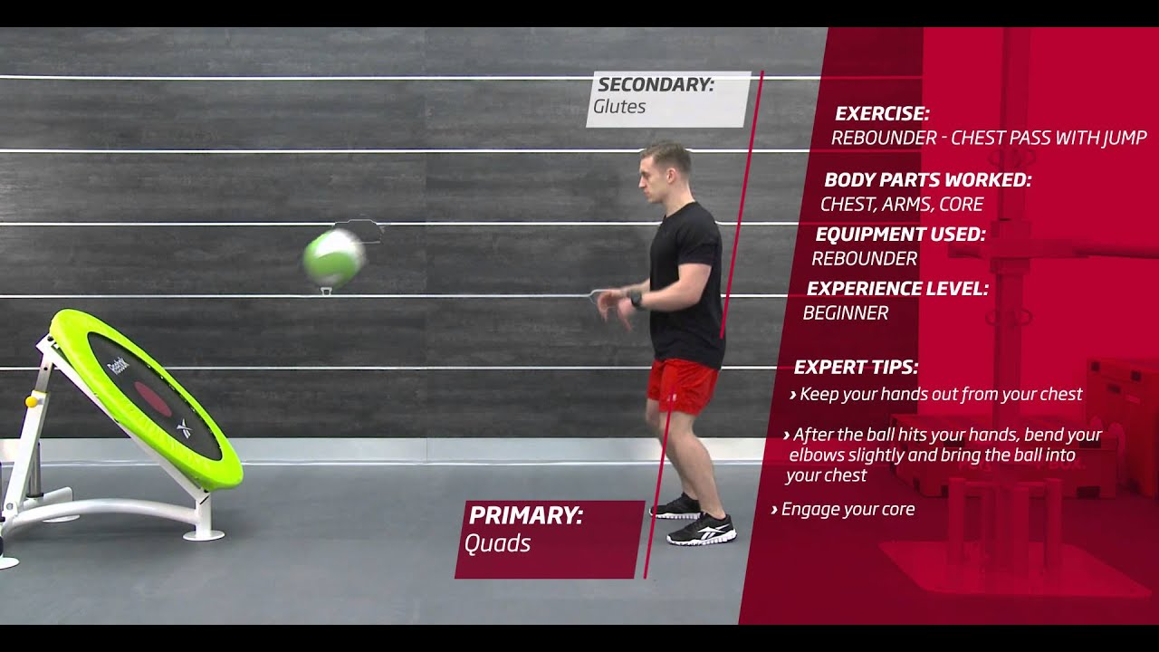 Fitness First Freestyle exercise - Rebounder Chest Pass with Jump - Medicine Ball - YouTube