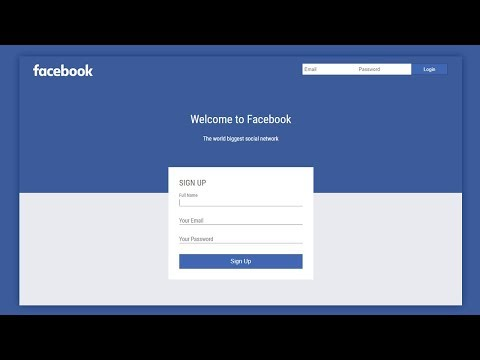 Facebook Login/SignUp Page Design Using Html & CSS 3 - Web Design Tutorial