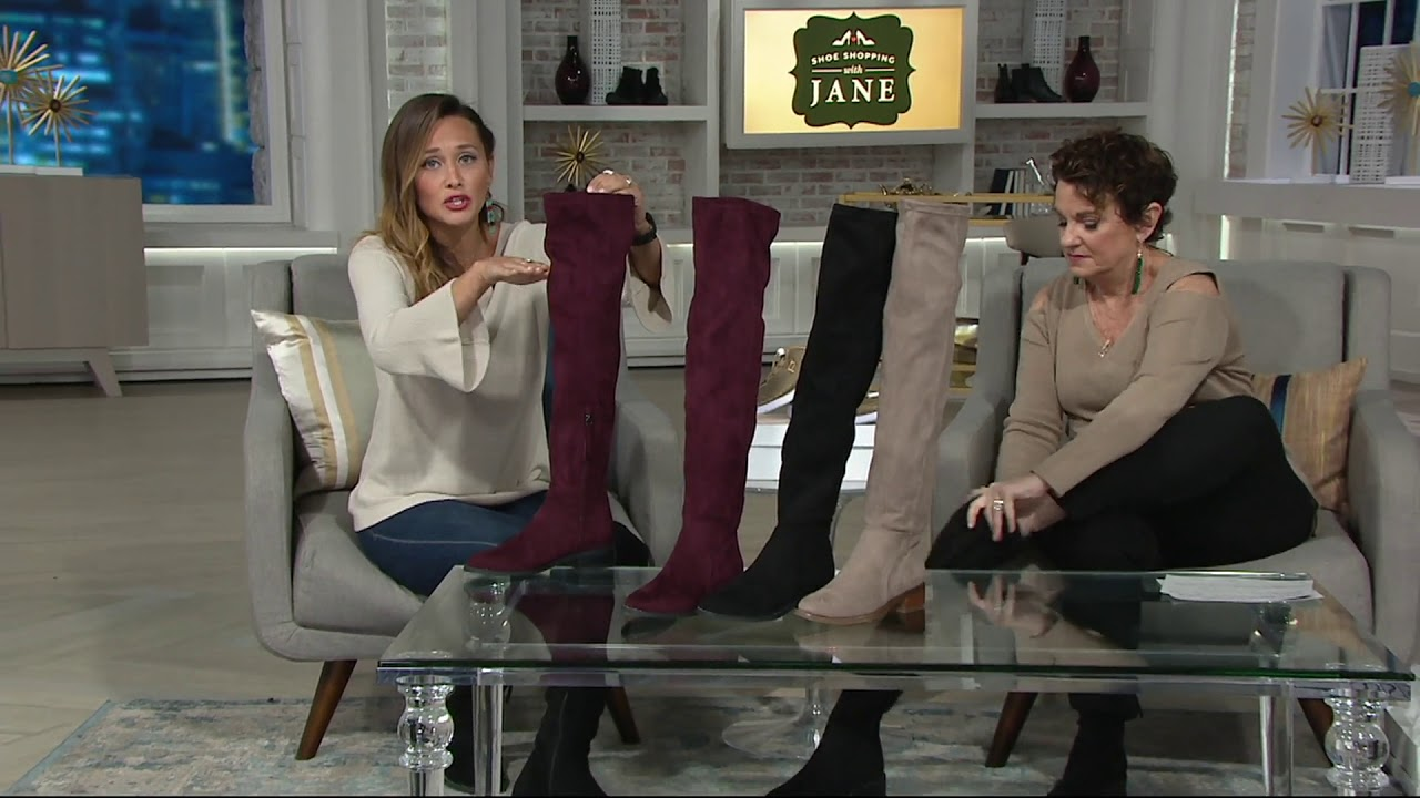 beab93e8107 Franco Sarto Faux Suede Over-the-Knee Boots - Bailey on QVC - YouTube