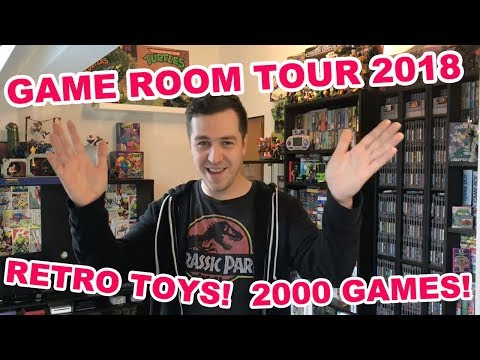 GAME ROOM TOUR 2018 -  Over 2000 GAMES! - Retro Games and Toys!