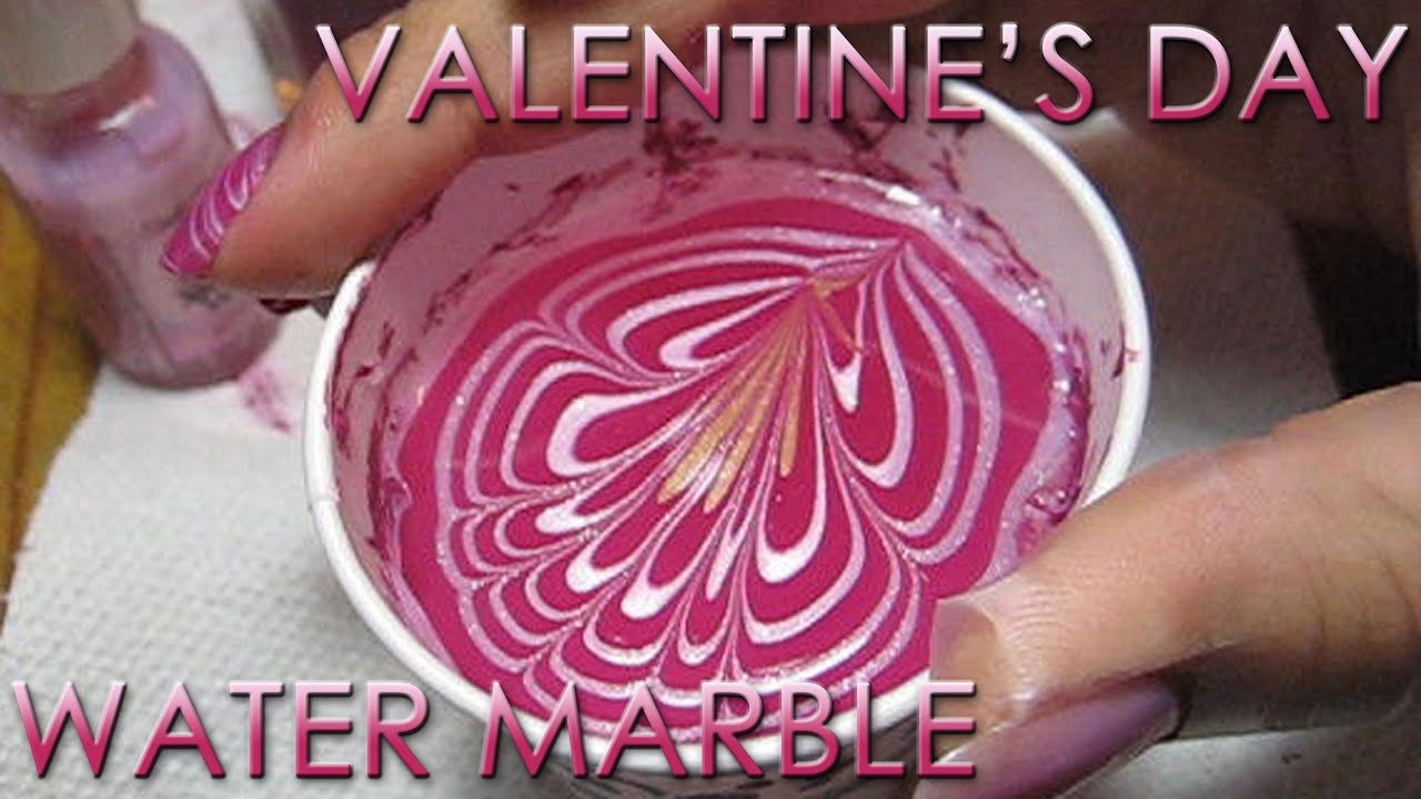 Valentine\'s Day Water Marble | DIY Nail Art Tutorial - YouTube