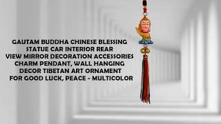 Gautam Buddha Chinese Blessing Statue Car Interior Rear View Mirror Hanging Decoration Accessories