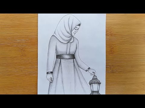 how-to-draw-a-girl-with-hijab//pencil-sketch-drawing.