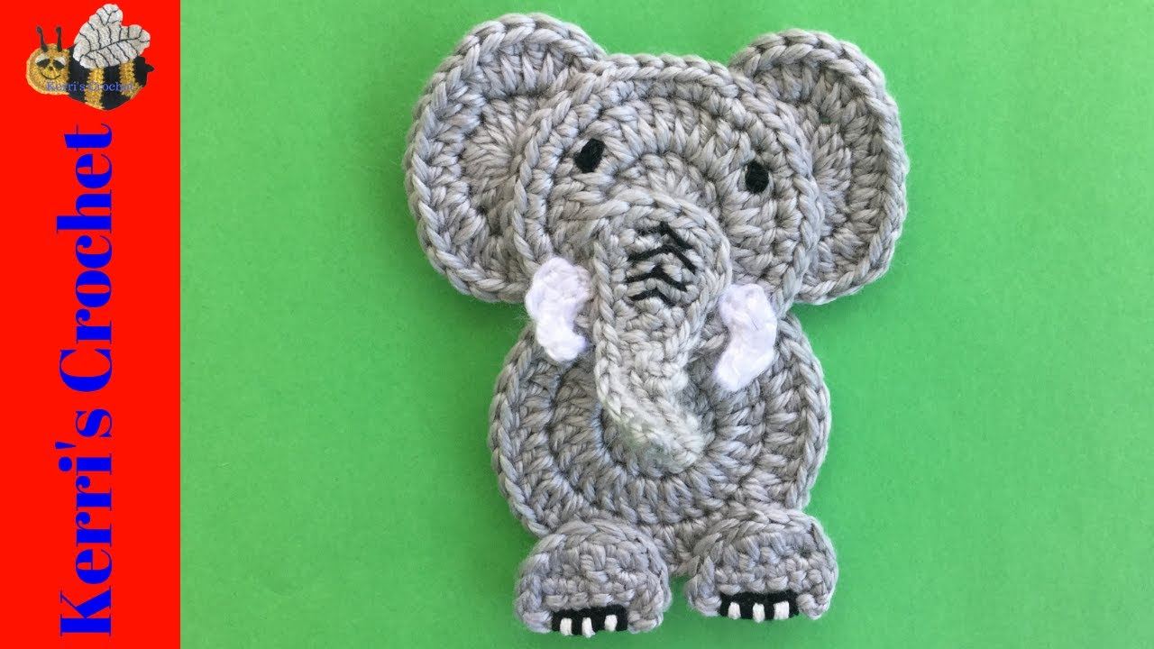 E is for Elephant: Crochet Elephant Applique - Repeat Crafter Me | 720x1280