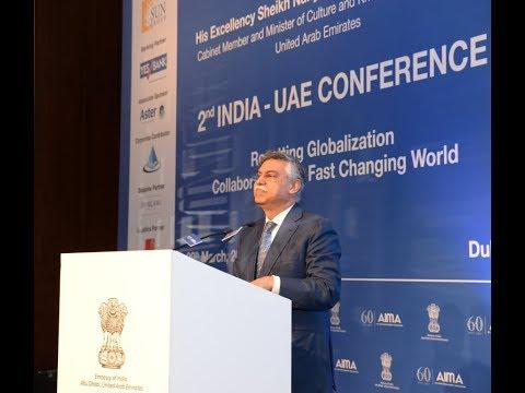 Sunil Kant Munjal addressing India-UAE conference at Dubai
