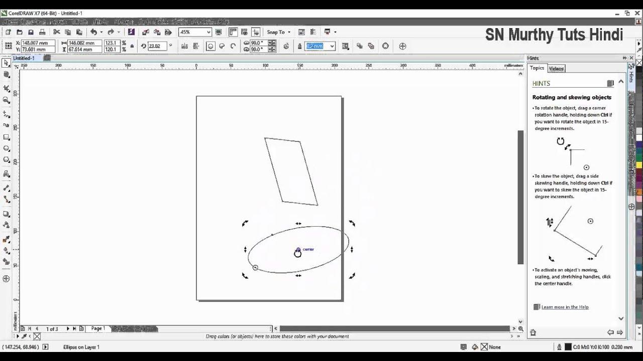 Corel Draw X7 Tutorial in Hindi - Pick Tool Freehand Pick Tool Free  Transform Tool