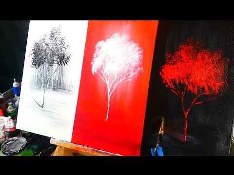 3 color channels landscape abstract painting techniques painting black red and white trees