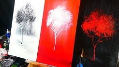 3 color channels landscape abstract painting techniques, painting   black, red, and white trees