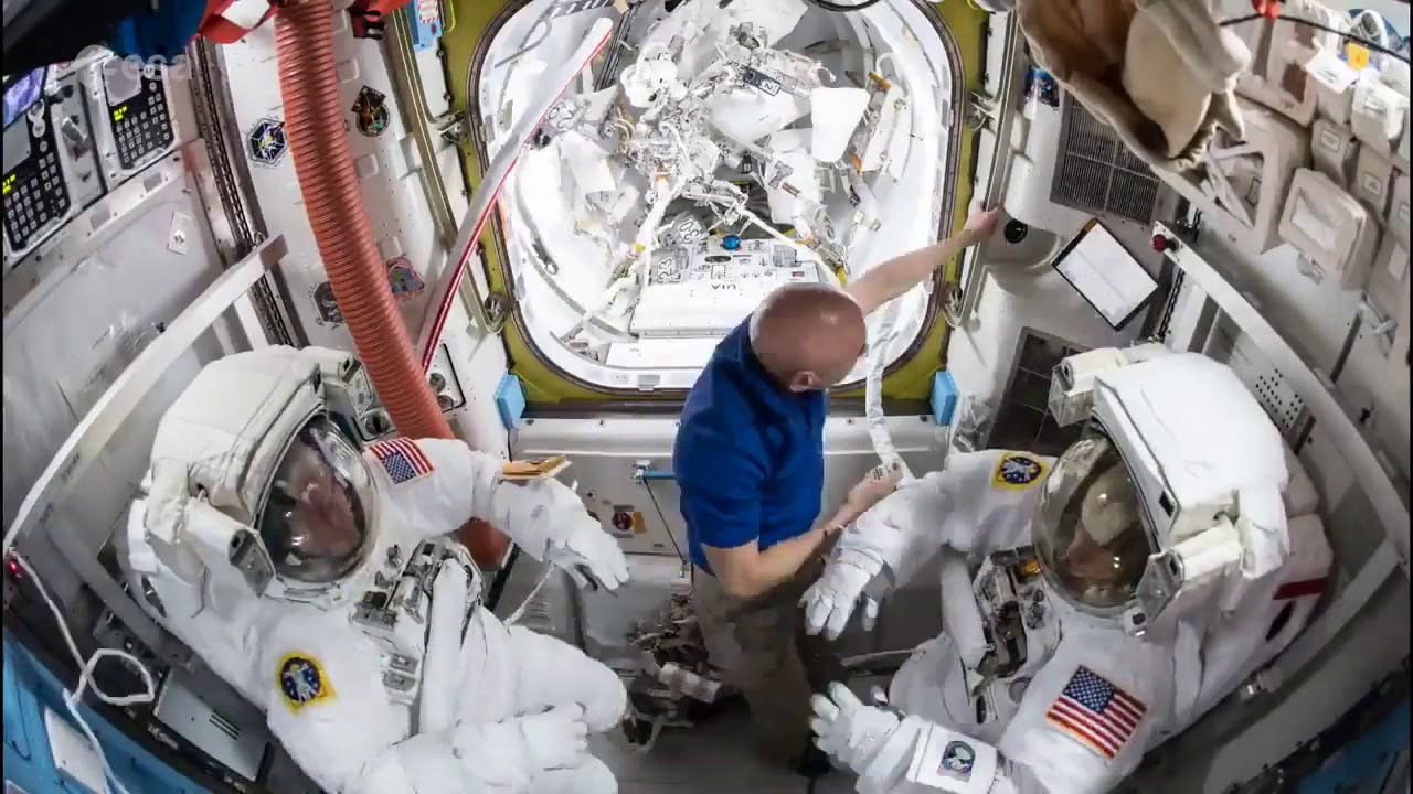 AWESOME clip of astronauts putting spacesuits on