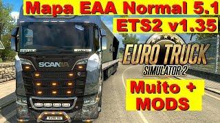 Jogando Euro Truck Simulator 2 v1.35 DX11 + MAPA EAA NORMAL 5.1 + Mods adversos