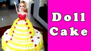 BARBIE DOLL CAKE - Making & Decorating, Recipe without Fondant [Hindi] by Geetika