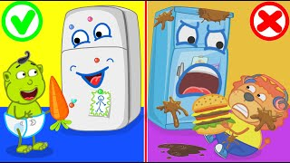 Lion Family | Learns Healthy Habits for Kids with Refrigerator Friend | Cartoon for Kids