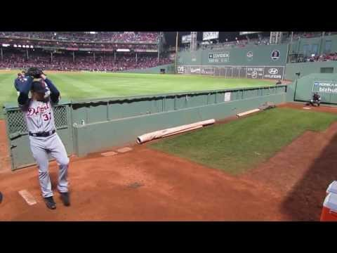 Max Scherzer Warming up before ALCS Game 2 at Fenway Park 10/13/13