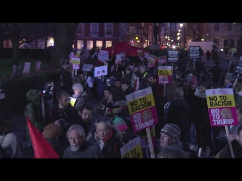 Anti-Trump protests at US Embassy in London