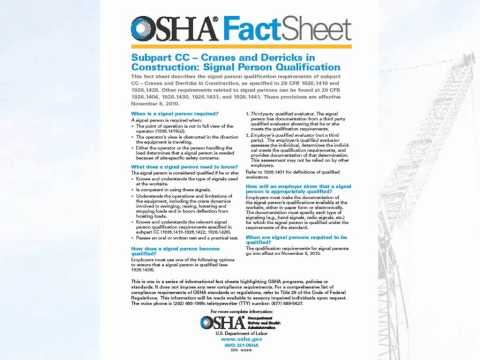 OSHA Changes in Signal Person Qualifications (Nov. 2010)