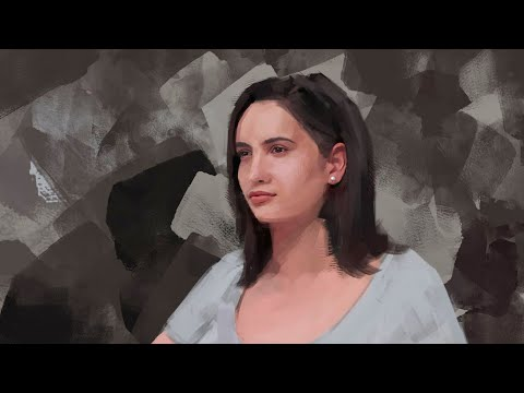 digital painting a girl in photoshop