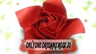 達人折りのバラの折り紙20 Only one origami rose20