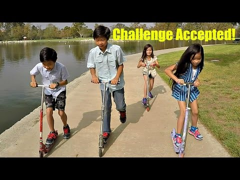 Kids Challenge: Scooter Razor Race At Mason Park, Irvine California - Doc vs E.L. vs Rocky vs Piper